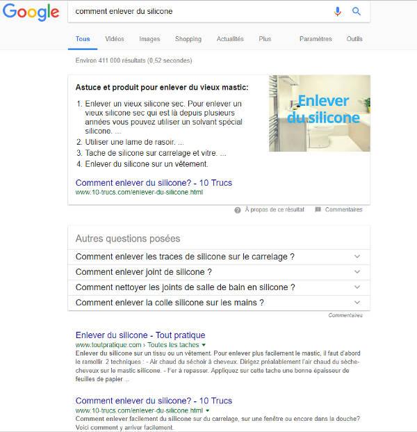 position zéro sur google affichage PC